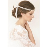 Bandeau cheveux en strass et perles blanches - réf xh91