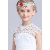 Bandeau pour fille au mariage avec une fleur rouge - réf B012