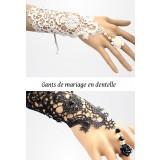 gants de mariage en dentelles et parsemés de perles réf SB120