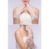 gants de mariage finition perles en ivoire - réf. S56