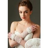 gants de mariage avec des fleurs ornées d'une perles - réf. S73