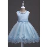Jolie robe bleu pour belle fille avec la broderieréf: EF9028