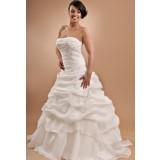 Robe de mariée bustier brodé jupe plissée évasée - sur demande réf 615