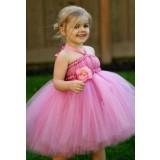 Robe de cortège enfant rose avec fleur et attache cou réf: DY-1037