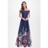 Robe de soirée taffetas motif fleuri bretelles tombantes EP7046