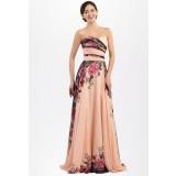 Robe de soirée motif floral bustier - réf QSY1653