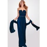 Constance - robe de soirée simple col V en bleu nuit - réf.5944