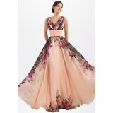 Robe de soirée motif floral à bretelles - réf QSY1652