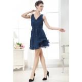 Destockage - robe de cocktail bleu nuit doublure scintillante réf 9748