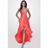 énora  - robe de soirée corail longueur asymétrique réf 9643