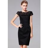 Robe noire avec manches en dentelle chic et glamour réf YY7607