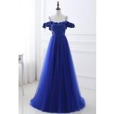 Robe de soirée bleu roi épaules dénudées- réf SQ423- sur demande