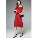 Robe habillée rouge finitions perforées réf CY3311