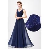 Robe de soirée longue bleu marine à bretelles et dentelle EP8877