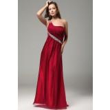 Bonnie  - robe de soirée longue asymétrique framboise réf 9597