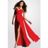 Sarah - robe de gala longue volant rouge- réf. 5935