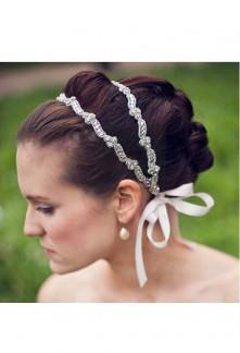 Bandeau double en strass et perles avec attache ruban - réf xh0001