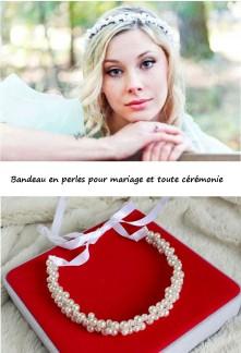 Bandeau pour mariage avec perles - réf XA15