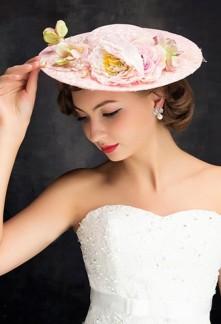 chapeau mariée orné fleurs champetre - réf WH1613