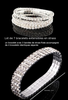 Lot de 7 bracelets extensibles en strass