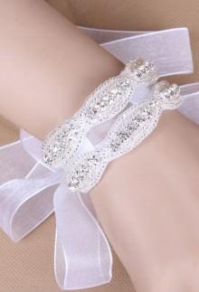 Bracelet double en strass et perles blanc - réf xi-02
