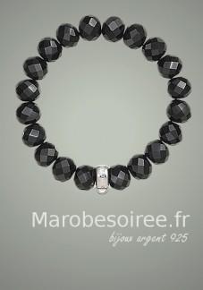 bracelet plaqué argent cristal noir