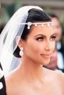 Chaîne bijoux de front en strass pour la mariée