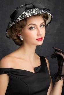 Chapeau de dame vintage noir et blanc - réf WH1665