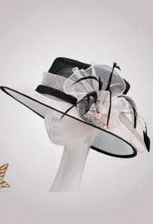 Chapeau de cérémonie en sisal bi-color réf 220 Sur demande
