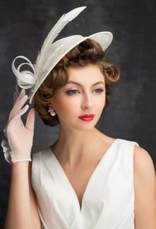 Bibi mariée ivoire style vintage - réf WH1670
