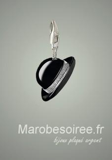 chapeau noir charms pendentif réf 22