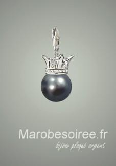 perle noir charms pendentif réf 20