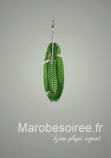 Charms en forme feuille verte pendentif réf 14