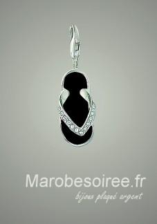 tong noir charms pendentif réf 12