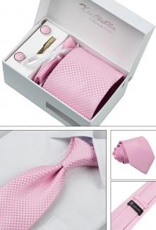 Coffret cravate motif losanges et accessoires Réf C70