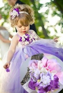 Serre tête bandeau florale en tons violets pour fille - réf D1002
