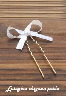 Lot de 5 pics chignon de mariée en perles.