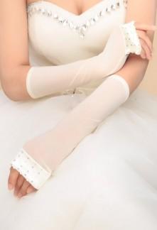 Gants de mariée ivoire finitions strass - réf. S77