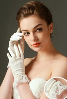 gants de mariage nœud dentelle esprit vintage - réf. S65
