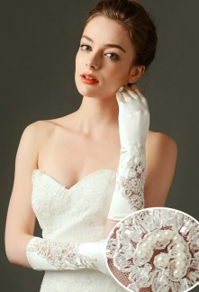 gants de mariage long ivoire avec broderie ornées de perles - réf. S69