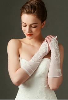 gants de mariage mi-long ivoire avec broderie - réf. S72