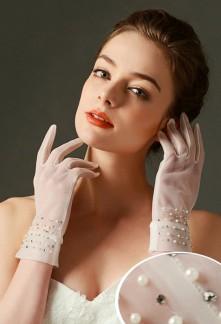 gants de mariage transparent parsemé de perles et de strass - réf. S71