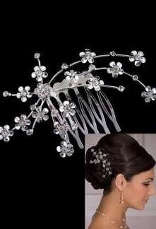 Peignette de mariée argentée ornée de fleurs - réf P02