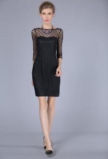 Robe noire de cocktail tailleur manches 3/4 réf YY7612
