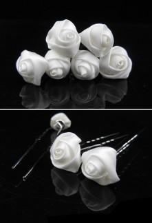 Pic à chignon fleur rose