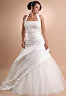 robe de mariée bretelles nouées autour de cou col américain