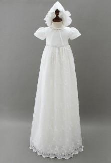 Robe blanche longue baptême pour bébé