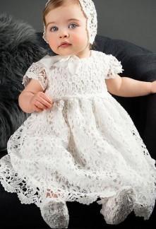 Robe bébé baptême en dentelle
