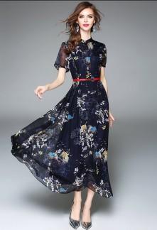 Robe mi-longue chic motif réf CY3543