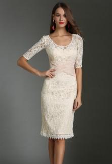 Elégante robe fourreau champagne manches Réf 1614